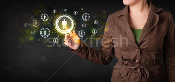 Foto stock: Moderna · mujer · de · negocios · tocar · futuro · tecnología · red · social