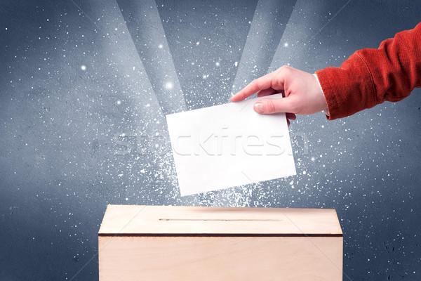 Szavazócédula doboz személy szavazás pezsgő kéz Stock fotó © ra2studio
