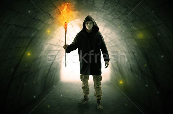 Człowiek spaceru palenie ciemne tunelu brzydkie Zdjęcia stock © ra2studio