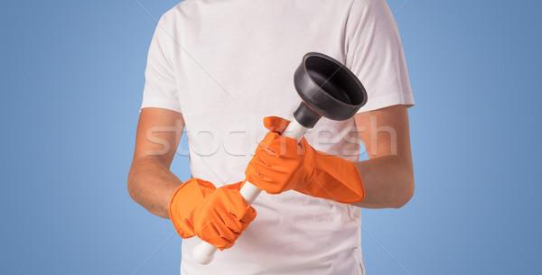 Huishoudster Blauw lege muur schoonmaken product Stockfoto © ra2studio