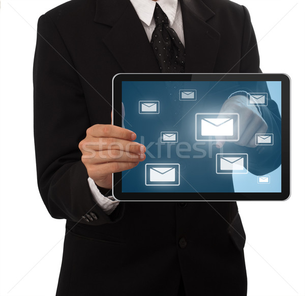 Businessman pressing e-mail buton  Stock photo © ra2studio
