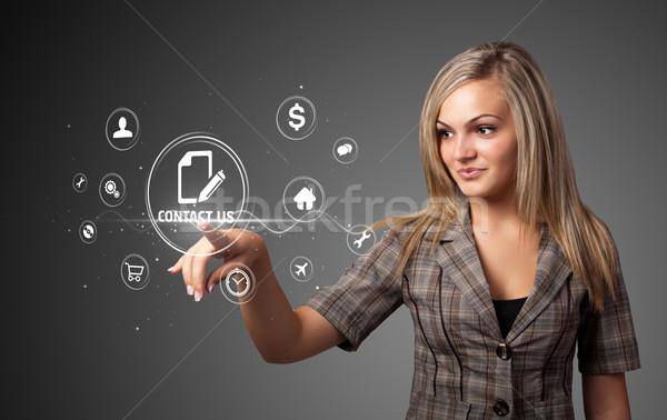 女性実業家 バーチャル メッセージング タイプ アイコン ストックフォト © ra2studio