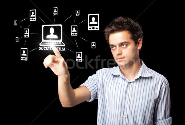 бизнесмен современных социальной тип иконки Сток-фото © ra2studio