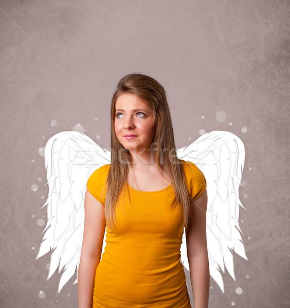 Foto stock: Cute · persona · ángel · ilustrado · alas · sucio