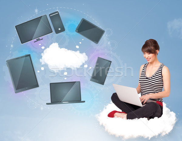 若い女の子 座って 雲 クラウドネットワーク サービス ストックフォト © ra2studio