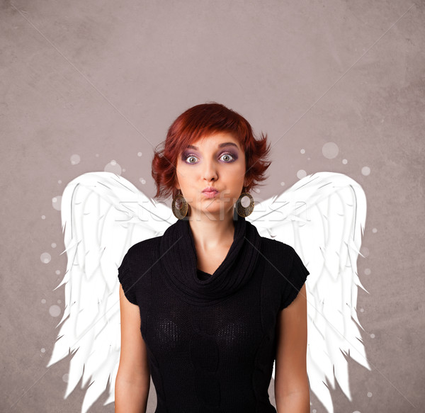 Cute persoon engel geïllustreerd vleugels Stockfoto © ra2studio