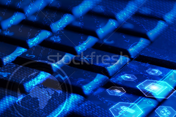 Stock photo: Keyboard with glowing multimedia icons