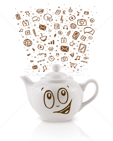 Coffe can with hand drawn media icons Stock photo © ra2studio