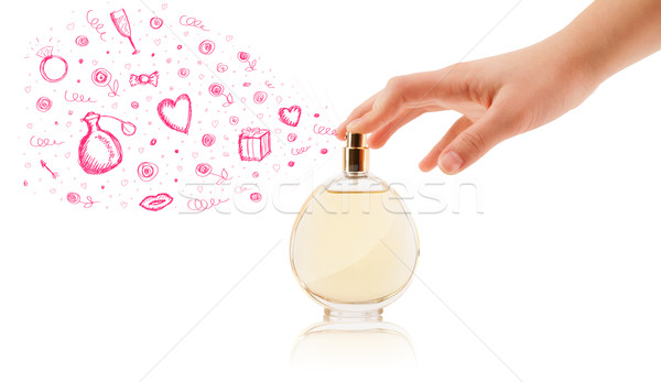 Stock photo: sketches coming out from beautiful perfume bottle