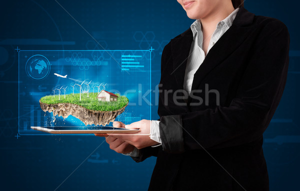 Jeune femme parfait écologie terres maison Photo stock © ra2studio