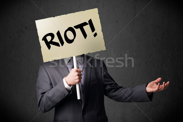 Foto stock: Empresário · protesto · assinar · manifestação · conselho