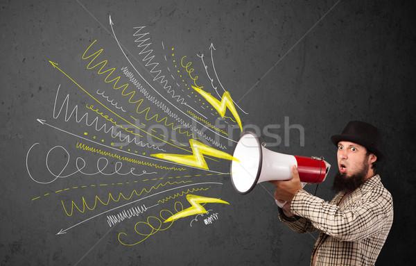 Leader ragazzo megafono linee Foto d'archivio © ra2studio
