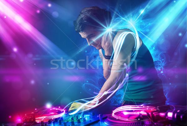 Enérgico música poderoso efeitos de luz jovem festa Foto stock © ra2studio