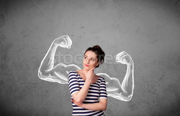 Fiatal nő erős karok csinos nő háttér Stock fotó © ra2studio