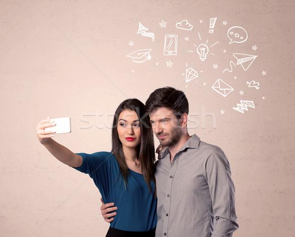 Paar gedachten geïllustreerd liefde Stockfoto © ra2studio