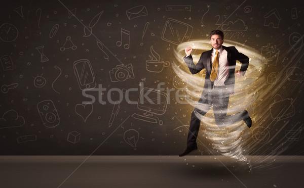 Feliz empresario saltar tornado marrón negocios Foto stock © ra2studio
