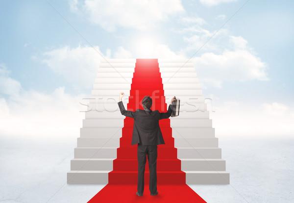 見える 階段 天国 ビジネスマン 空 男 ストックフォト © ra2studio