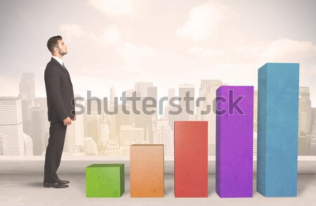 Klettern up farbenreich Tabelle Business Stock foto © ra2studio