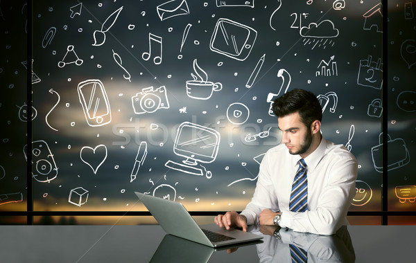 üzletember közösségi média szimbólumok ül asztal kézzel rajzolt Stock fotó © ra2studio