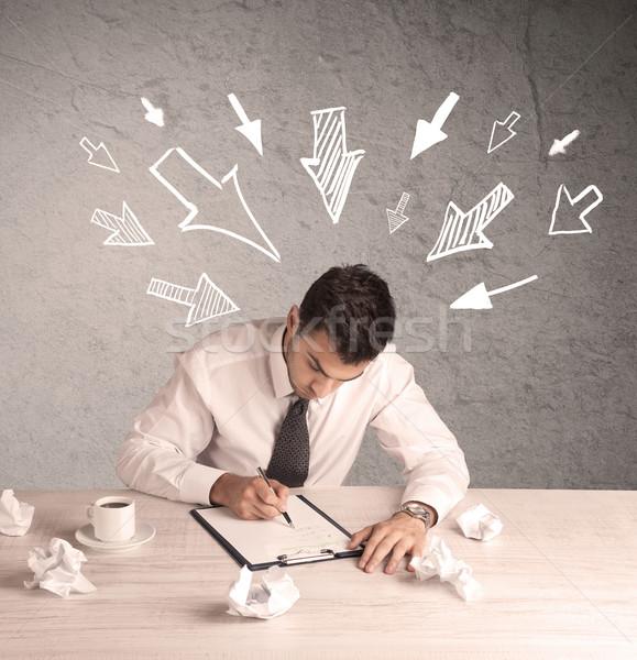 忙しい 事務員 小さな ビジネスマン ストックフォト © ra2studio