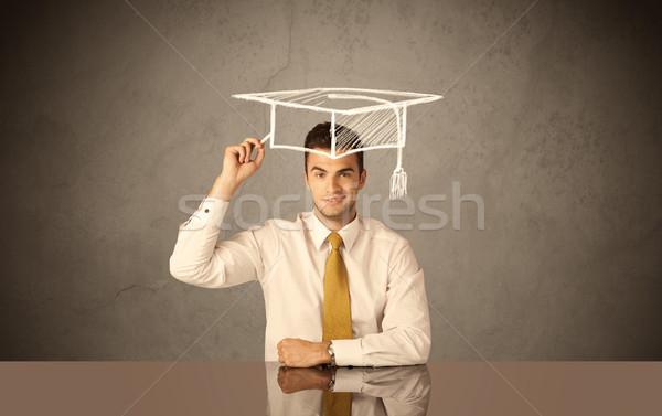 Boldog főiskola diplomás rajz tudományos kalap Stock fotó © ra2studio
