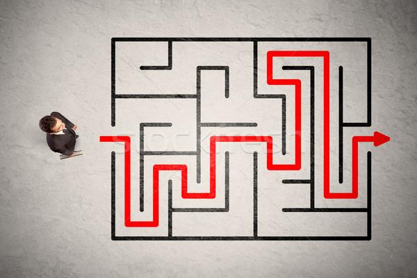 Сток-фото: потеряли · бизнесмен · способом · лабиринт · красный · стрелка