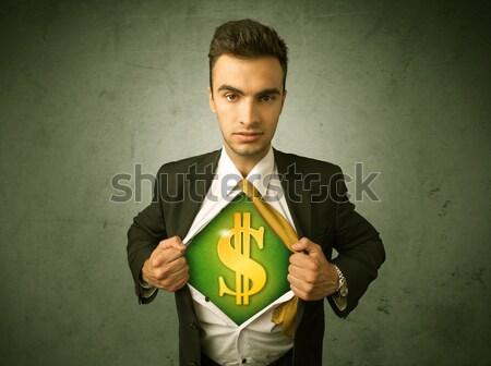 Geschäftsmann aus Shirt Dollarzeichen Brust Mann Stock foto © ra2studio