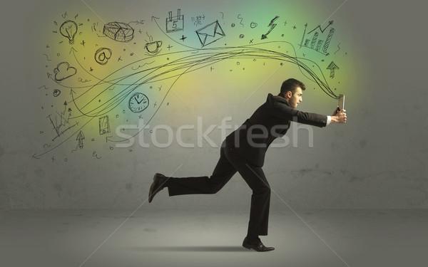 Homem de negócios apressar rabisco mídia ícones Foto stock © ra2studio