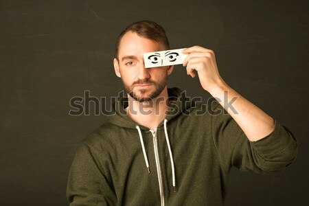 Guy papier dessinés à la main signe du dollar vert Photo stock © ra2studio