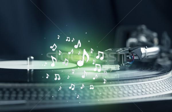 Stockfoto: Draaitafel · spelen · muziek · audio · merkt