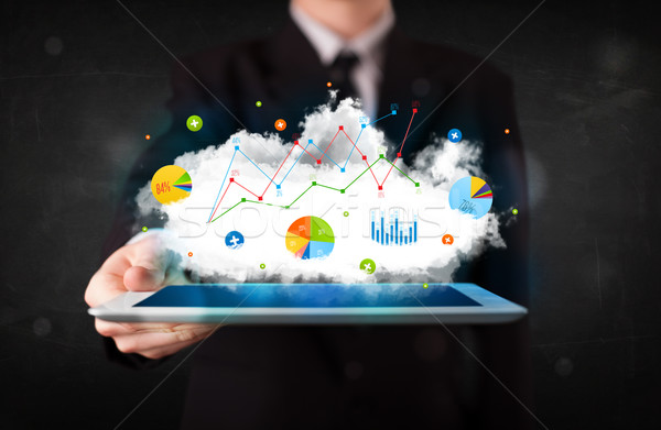 Osoby touchpad Chmura technologii wykresy Zdjęcia stock © ra2studio