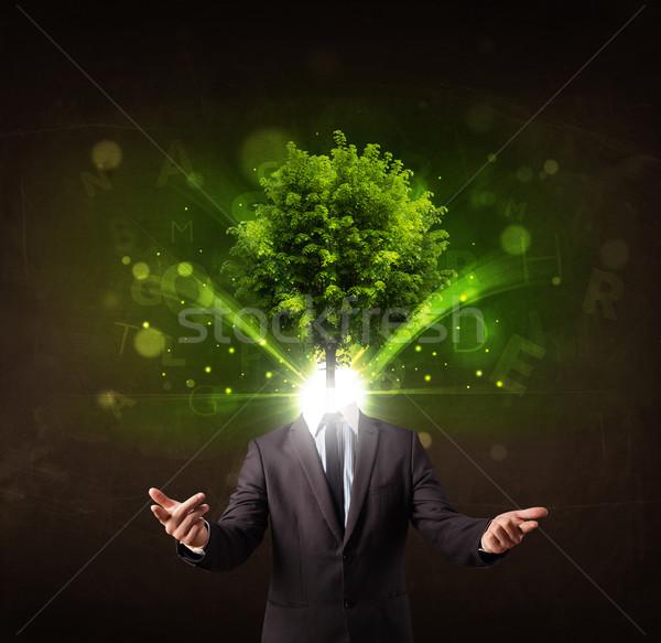 Férfi zöld fa fej barna fa orvosi Stock fotó © ra2studio