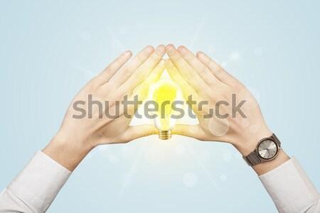 Hands creating form Stock photo © ra2studio