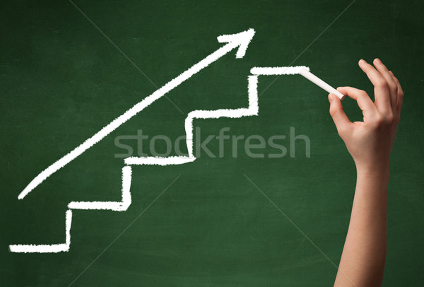 Stock photo: Hand drawing steps on blackboard