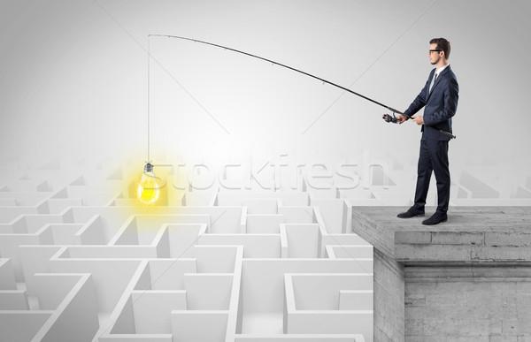 Stock fotó: üzletember · halászat · új · ötlet · labirintus · fiatal