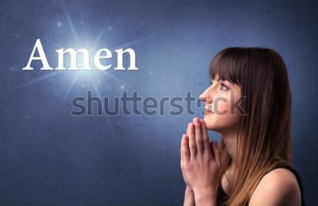 Praying young girl concept Stock photo © ra2studio