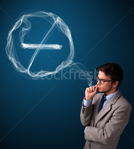Junger Mann Rauchen ungesund Zigarette Zeichen Stock foto © ra2studio
