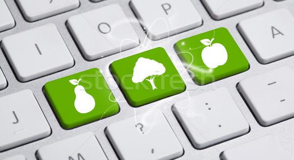 ストックフォト: エコ · キーボード · 緑 · リサイクル · インターネット · 作業