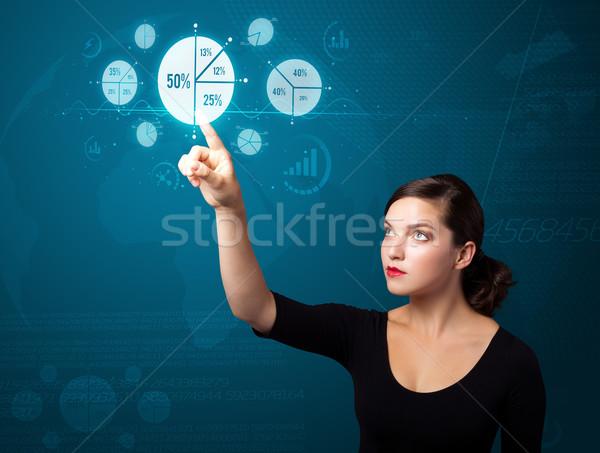 Stock fotó: üzletasszony · kisajtolás · modern · üzlet · gombok