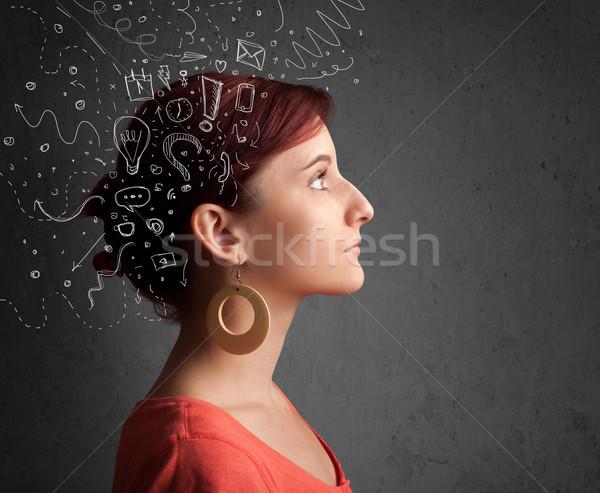 若い女の子 思考 抽象的な アイコン 頭 ビジネス ストックフォト © ra2studio