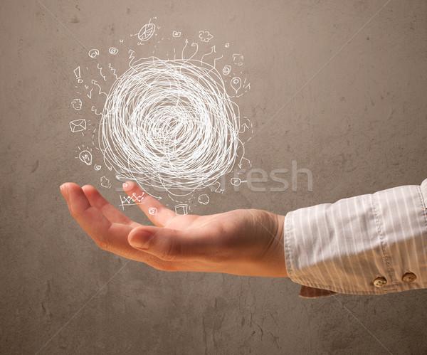 Chaos strony kobieta dłoni pomoc Zdjęcia stock © ra2studio