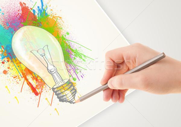 Hand Zeichnung Papier Farbenreich Splatter