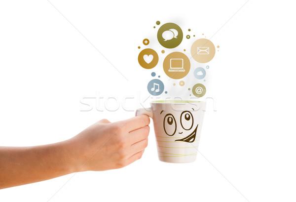 Foto stock: Taza · de · café · medios · de · comunicación · social · iconos · colorido · burbujas · aislado