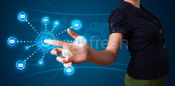 Mujer virtual mensajería tipo iconos Foto stock © ra2studio