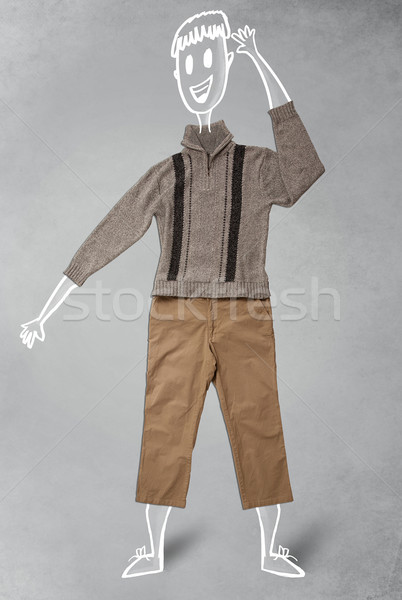 Hand drawn funny character in casual clothes Stock photo © ra2studio