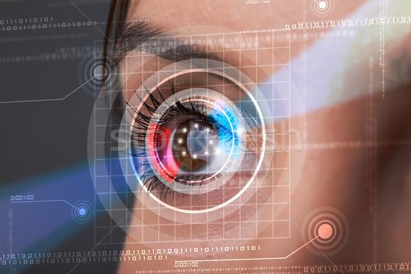 Foto stock: Mulher · olho · olhando · moderno · segurança · ciência