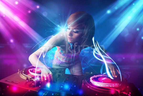 Energikus lány zene erőteljes fényeffektusok buli Stock fotó © ra2studio