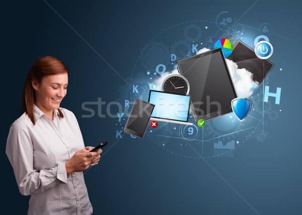 Pretty lady browsing on her smartphone Stock photo © ra2studio
