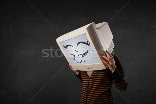 Fiatal lány visel monitor vicces arc kézmozdulat nő Stock fotó © ra2studio