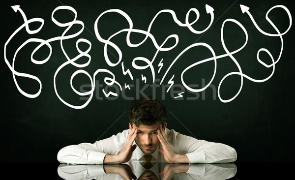Foto stock: Deprimido · empresario · sesión · dirección · líneas